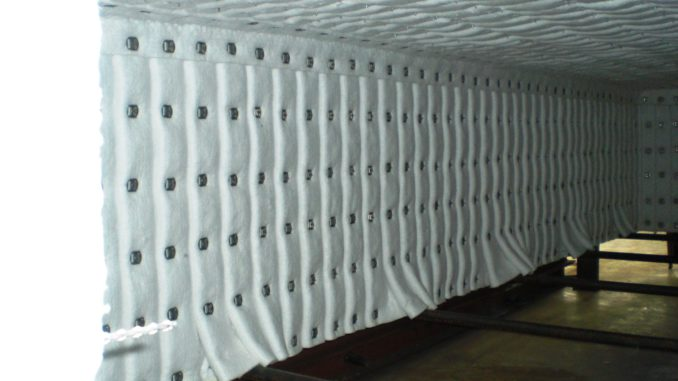 furnace hood, folded fibre blanket insulation